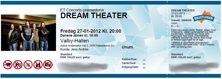 Dream Theater ticket - Copenhagen
